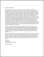 Covid-19 Board President Letter to Community