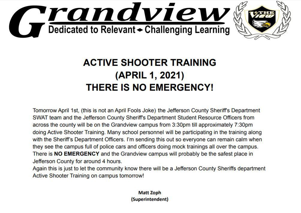 active shooter training message