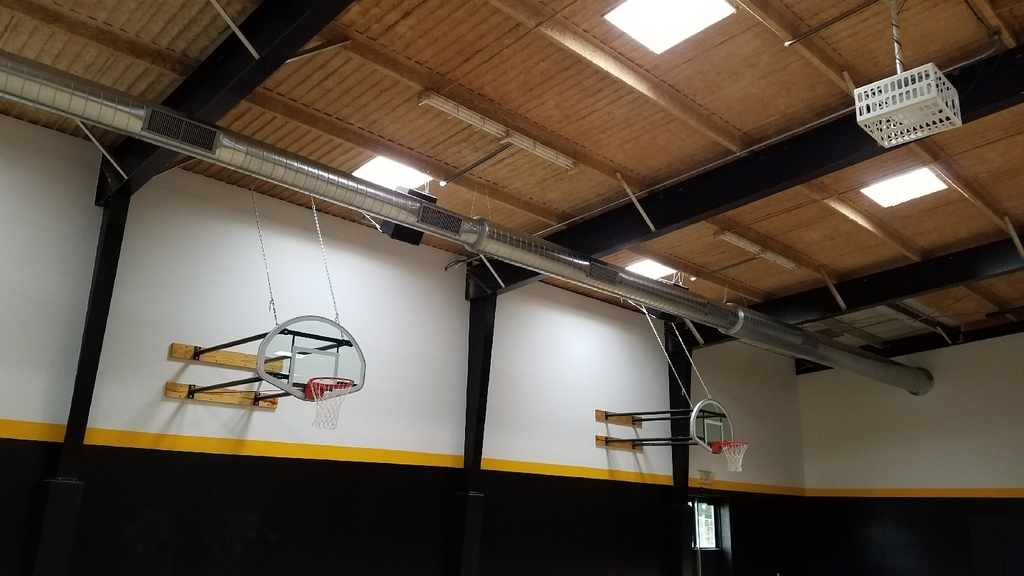 Duct work has been installed for the A/C in the elementary gym.