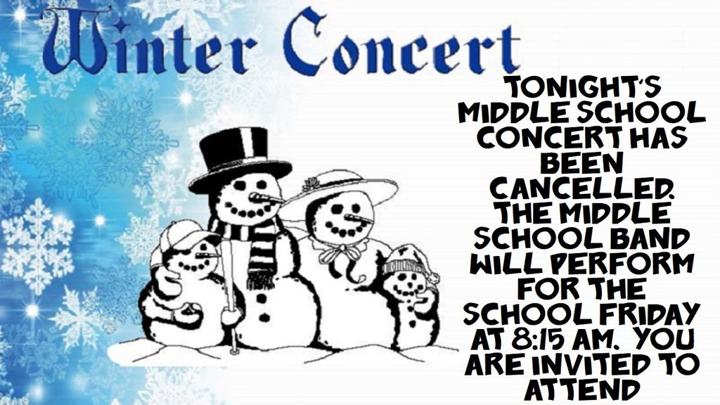 Band Concert Cancelled 12-16