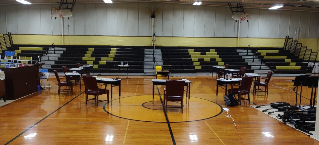 Middle School Gym set up for tonight's board meeting.